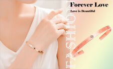Women Cuff Bangle 18k Rose Gold Plated Engraved Stainless Steel Bangle Bracelets
