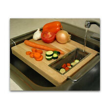 Over The Sink Wood Cutting Board Strainer Adjustable Kitchen Tools Rack Hardwood