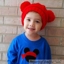 BonEful RTS NEW Boutique Crochet Knit Red Mickey Xmas WINTER S Baby HAT Boy Girl