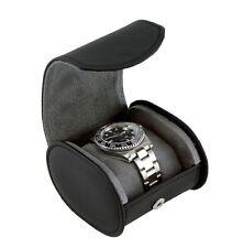 Heiden Single Traveler Watch Case - Black Leather - Oval