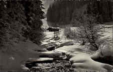 Schweiz Kanton Bern bei Adelboden Postkarte 1954 Am Weg nach Unterbirg im Winter