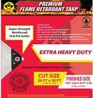 30x20 Ft. 10 Mil. Heavy Duty White Fire Retardant Tarp NFPA-701 FR compliant