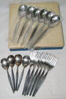 Vintage Flatware Stainless Japan Set Lot Forks Spoons Serving in Case Minimal