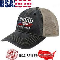 Trump 2020 MAGA Embroidered Hat Keep Make America Great Again Mesh Cap A+++ an