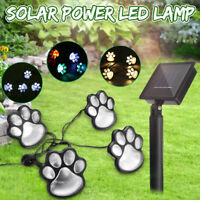 Cat Paws Prints LED Solar Powered Light String Lawn Garden Stake Walkway Lamp