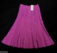 Calf Length Linen Patternless Flippy, Full Skirts for Women