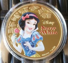 Snow White Disney Coin / Medallion Finished In 24k Gold 40mm 1oz .999 ✔️SALE