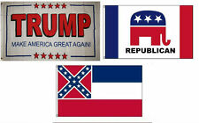 3x5 Trump White #2 & Republican & State of Mississippi Wholesale Set Flag 3'x5'