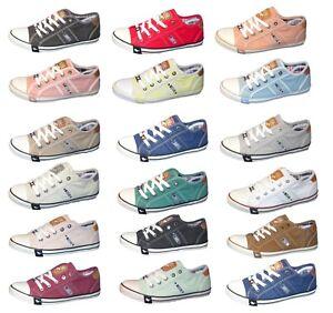 MUSTANG Damen Sneaker Halbschuhe Schnürer Schuhe Canvas Slipper 1099-302 NEU