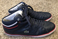 Lacoste Camous Com High Top Sneakers Shoes Navy Blue Red Men's Size 13 EUC