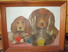 Outsider Art Type Painting  Oil on Board Two  Spaniels by Phyllis Stuck