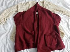 Anthropologie lot of 2 Angel of the North beige and red knit cardigans size m/l