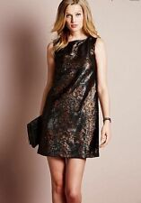 BNWT NEXT Black Bronze Sequined Shift Dress Size 12 RRP £85!