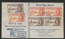 L2676 ANTIGUA FDC REGISTERED ST JOHN ANTIGUA 1946  PEACE & RECONSTRUCTION