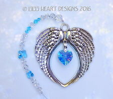m/w Swarovski Vintage Ab Aqua Heart Angel Wings Suncatcher Lilli Heart Designs