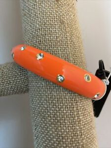 Womens J Crew Orange Enamel Bracelet With Rhinestone Crystals Oval Clamper