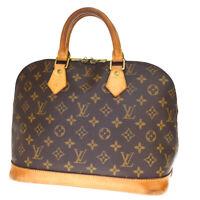 Authentic LOUIS VUITTON Alma Hand Bag Monogram Leather Brown M51130 31BQ316