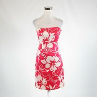 Red white floral print satin DAVID MEISTER sleeveless sheath dress 4