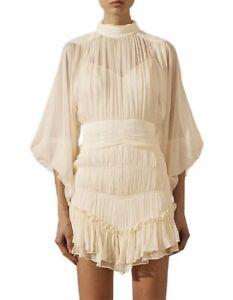 Shona Joy VICTORIA LONG SLEEVE RUCHED MINI DRESS - Size 8 AU