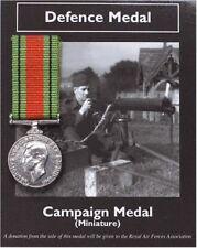 Defence Medal Ww2 Home Guard Firemen Civil RAF 1940-45 Miniature Repro Schools