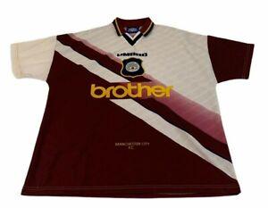 Manchester City Away Football Shirt Jersey 1996 1997 Mens Large Umbro Brother