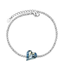 New Sparkly Blue Austria Crystal White Rhinestone Tennis Heart Bracelet Jewelry