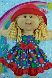 """Play n Wear Dolls Clothes For 16"""" Cabbage Patch SPOT DRESS~BLOOMERS~HAT"""