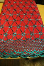 African Cotton Voile Embroidery Lace Material Fabric 5 Yards Pink/Turquoise