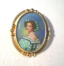 "MINIATURE PAINTING OF LADY Pin / Pendant 1"" X 1 1/4"", 1/20 12K GOLD FILLED"