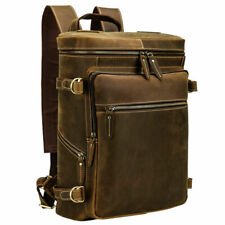 "Men Genuine Leather Hiking Backpack Travel Work 15.6"" Laptop Schoolbag Daypack"