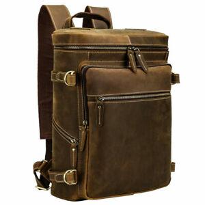 "Men Full Grain Leather Backpack Travel Bag School Bag 15"" Laptop Bag Day Pack"