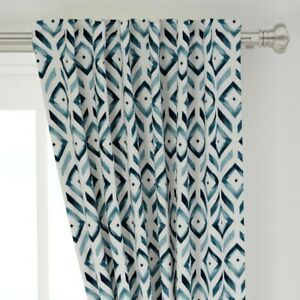 """Geometric Navy Blue White Diamond Geo Stripe 50"""" Wide Curtain Panel by Roostery"""