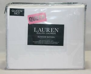 Ralph Lauren Dunham Sateen Four Piece Queen Sheet Set Solid White NIP