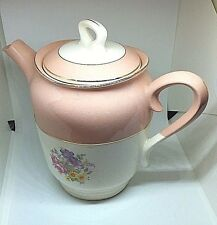 French Saxon Sandra China Dusty Rose 22K Gold Pink Floral Tea Pot RARE Vintage