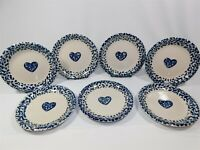 7 HEARTS Folkcraft by Tienshan Spongeware Luncheon Plates 6.5""