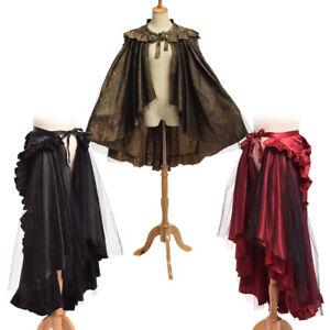 Vintage Gothic Victorian Ruffle Bustle Skirt Cape Reenactment Dual Purpose Wear
