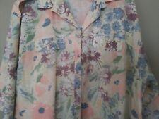 Cabrais Shirt Button Front Blouse Multi-Color Floral 3/4 Sleeve Women Plus 4X