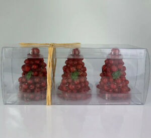 NWT Tag Brand Boxed Red Cranberry Tree Candles, Set of 3