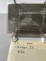 Black&White negative film train Illinois Central  M. V Railroad front view8/1963