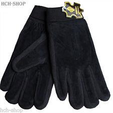 Wildleder Handschuhe Fingerhandschuhe mit Strickbund gefüttert  Gr. L schwarz