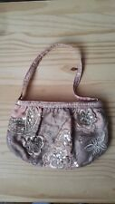 BRAND NEW Accessorize Floral & Butterfly Silky Pink Sequin Party Bag BOHO CHIC!