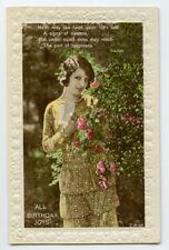 1920s British BEAUTIFUL LADY Pretty Woman Beauty Flapper photo postcard