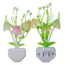 2 Pack Romantic Colorful Sensor LED Mushroom Night Light Wall Lamp Home Decor US