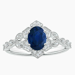 Floral Ring Oval Blue Sapphire Gemstone White Topaz Ring in 925 Silver