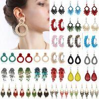 Fashion Handmade Crystal Beaded Earrings Women Ring Tassel Drop Dangle Ear Stud