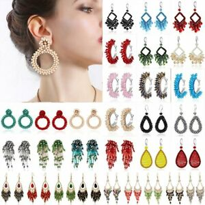 NEW Handmade Crystal Beaded Earrings Women Ring Tassel Drop Dangle Ear Stud