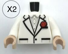 Lego X2 White Tuxedo Suit Jacket With Red Flower Pattern Mini Figure Torso Parts