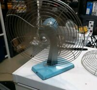 Manni Metal Electric Fan Blue Blade Oscillating Made in USA Vintage