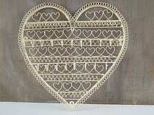 Heart Shape Jewellery Tree Wall Hanger Holder Cream Metal Necklaces Earrings