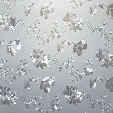 Floral Glass Privacy Window Film Adhesive Static Cling, 35.5 inches by 72 inches